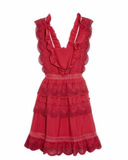 Self Portrait Tiered Broderie-anglaise Mini Dress