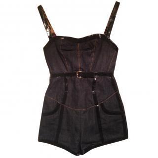 Dolce & Gabbana denim & patent play suit size 38