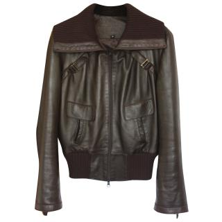 Jitrois Chocolate brown Leather bomber jacket Fr 36 (UK 8)