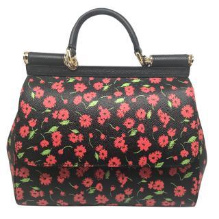 Dolce & Gabbana black& red floral Miss Sicily bag