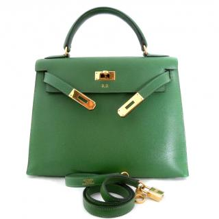Hermes Vintage Green Kelly Sellier Bag 29 Vert Clair