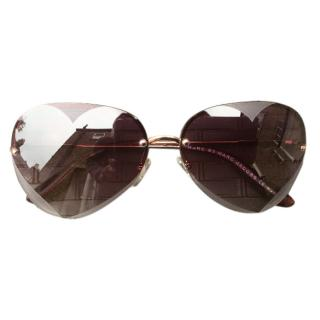 Marc by Marc Jacobs Rimless Heart Aviator Sunglasses in rose gold