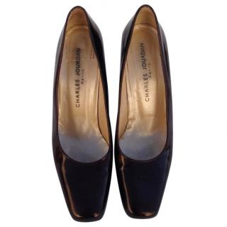 Charles Jourdan Brown patent leather Court Shoes