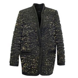 Isabel Marant Green Tweed Coat with Sequins
