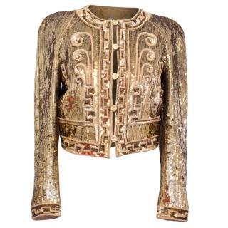 Stella McCartney Gold Sequinned Cropped Blazer