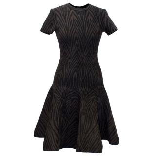 Alaia Brown and Black Stripe Textured Skater Dress