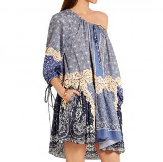 Chloe Printed Lace Applique Dress