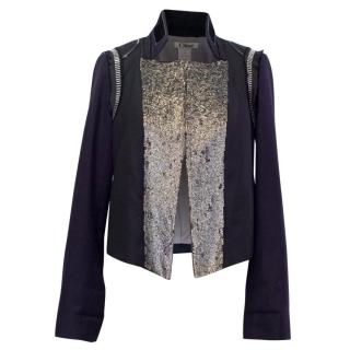 Chloe Embellished Navy Wool and Kashmir Blazer