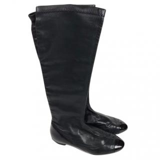 Chanel Black leather boots with Patent Toe