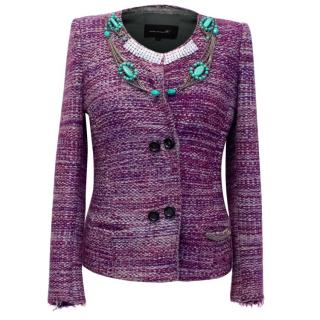 Isabel Marant Purple Tweed Jacket with Crystals and Chains