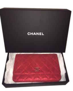 Chanel Red Metallic Wallet On Chain