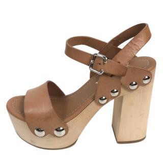 Prada Wooden Platform Sandals
