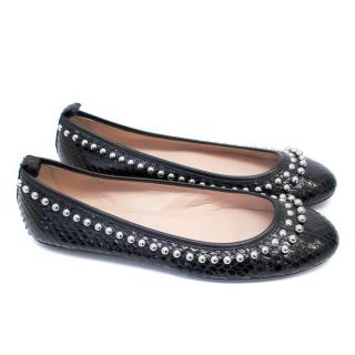 Tod's Black Snakeskin Pumps with Silver Studs