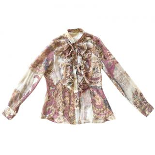 Etro ruffled front paisley print silk-georgette blouse