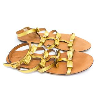 Marc Jacobs Gold Leather Sandals with Studs and Bows