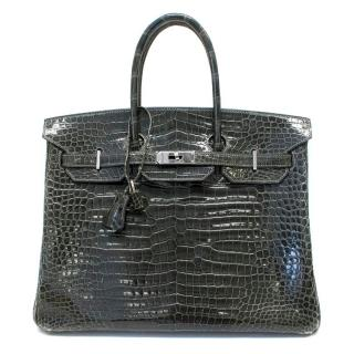 Hermes Crocodile 35 Birkin Grey Elephant Bag