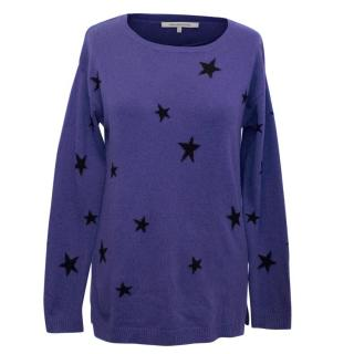 Gerard Darel Blue Cashmere Blend Jumper with Black Stars