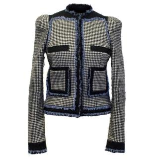 Balenciaga Dog Tooth Pattern Blazer with Blue Trim