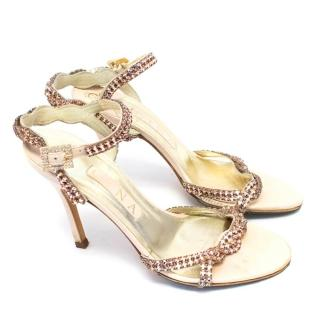 Gina Nude Leather Sandal with Pink Diamante Embellishments