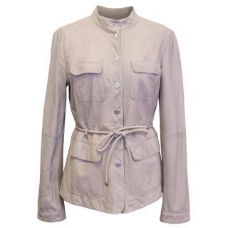 Armani Collezioni Beige Leather Jacket with Drawstring Waist