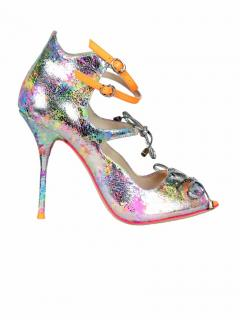 Sophia Webster rainbow silver sandals