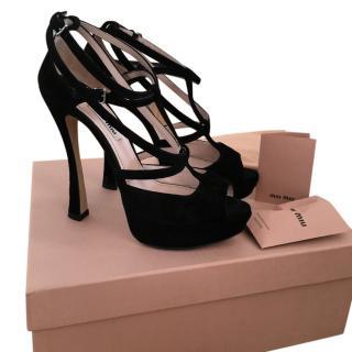 Miu Miu black suede platform sandals