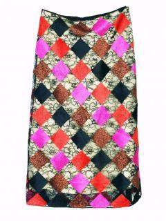 Jonathan Saunders scarlett patchwork lace skirt