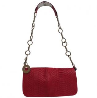 Salvalvatore Ferragamo Red Python Shoulder Bag Handbag