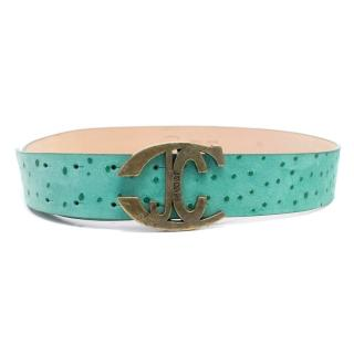 Just Cavalli Teal Embossed Pin Buckle Belt