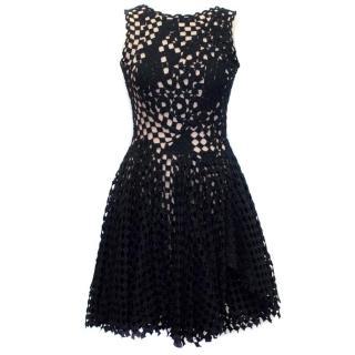 Jasmine Di Milo Black Crochet Skater Dress with Nude Mesh
