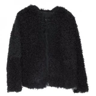 P.A.R.O.S.H. Women's Navy Shearling Fur Coat