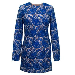 Stella McCartney Blue Celia Guipure Lace and Crepe Dress