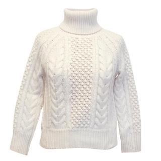 Altuzarra Cream Roll Neck Cashmere Blend Knitted Jumper