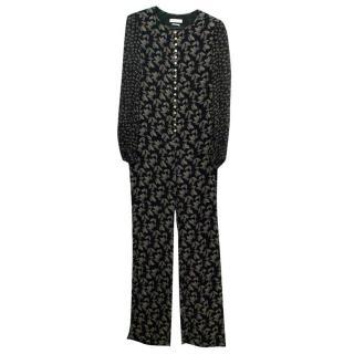 Isabel Marant Etoile Black Leaf Patterned Long Jumpsuit