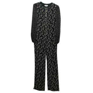 Isabel Marant Etoile Black Leaf Patterned Long Jumpsuit