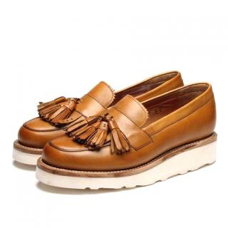 Grenson Clara tan camel leather loafers