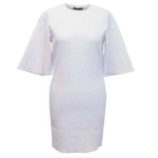 Alexander McQueen White Embossed Croc Shift Dress