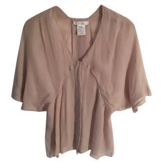 Chloe 100% silk oyster coloured floaty blouse