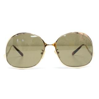 Balenciaga Gold Square Framed Sunglasses