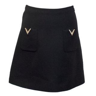 Valentino Black A-line Mini Skirt with Gold V Pockets