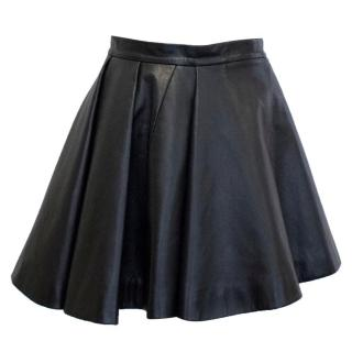 Balmain Black Leather Skater Skirt