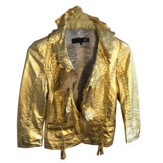 Just Cavalli Golden Leather Jacket