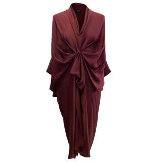Lanvin Burgundy Ruched Detail Dress