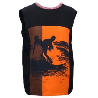 Victoria Beckham Crepe Black Top With Silk Surf Print