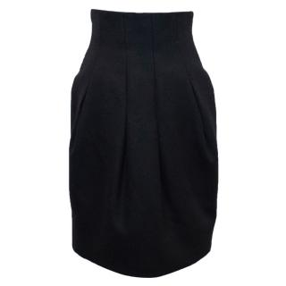 Alexander McQueen Black Pleated Knee Length Pencil Skirt
