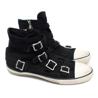 Ash Virgin Black Buckle Canvas Trainers
