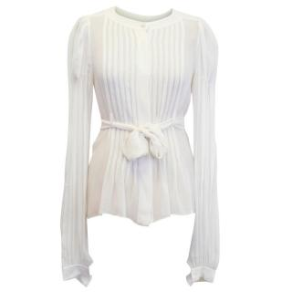 Chanel Cream Belted Silk Blouse with Pleated Front