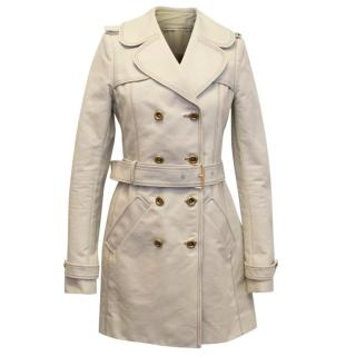 Balenciaga Beige Trench Coat with Brown Stitching