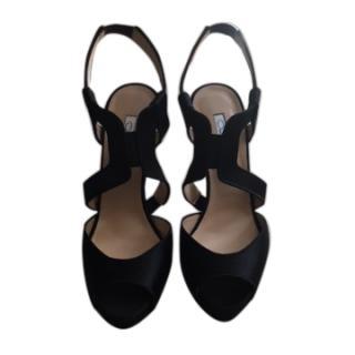 Oscar De La Renta Eliana Satin 120 Black Heeled Sandals