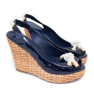 Tory Burch Navy Patent Basket Weave Wedges